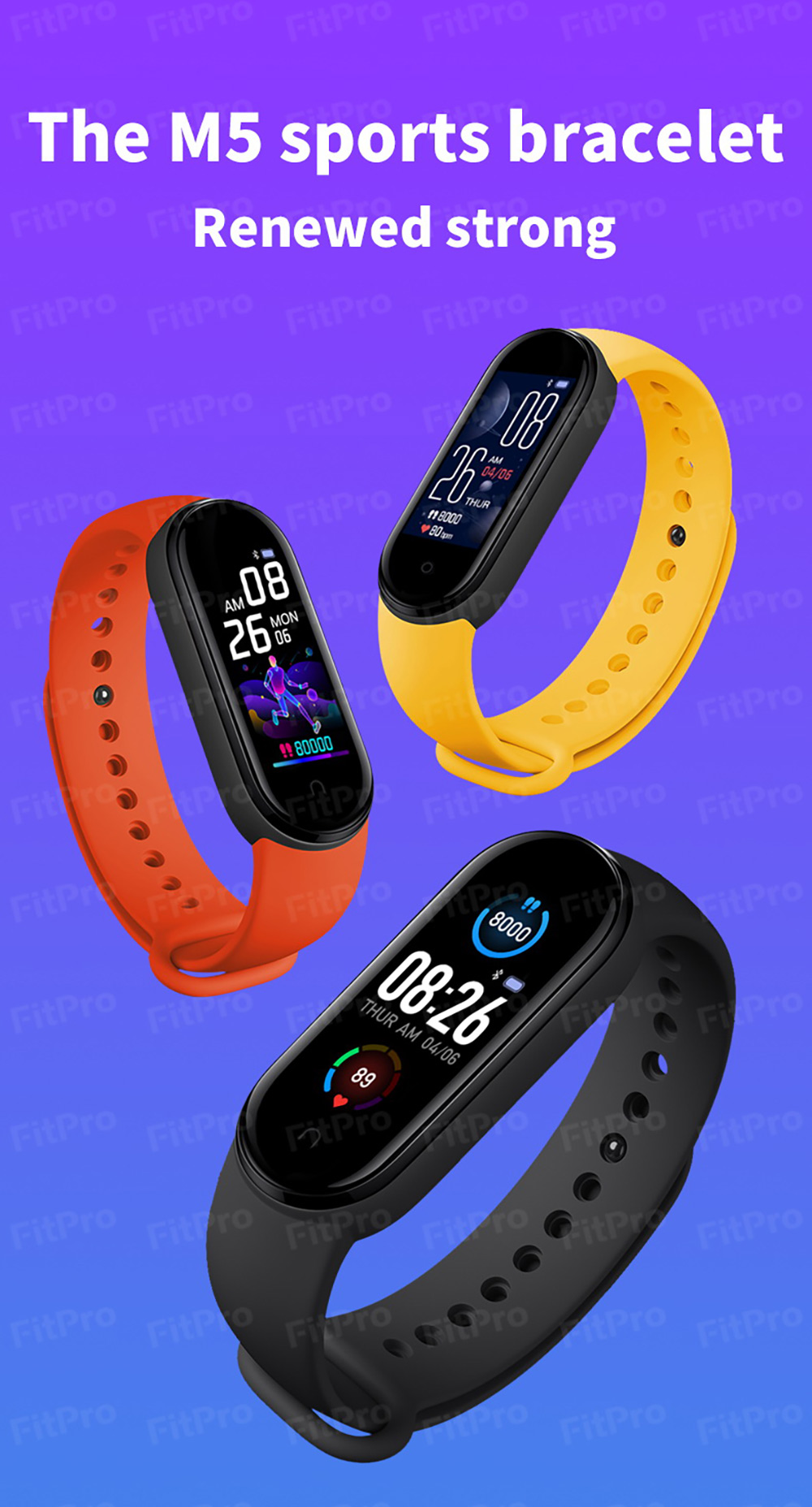 Gocomma M5 Smart Wristband Continuous Blood Pressure Oxygen Monitor Wristband Message App Push Fitness Tracker Color Screen - Yellow