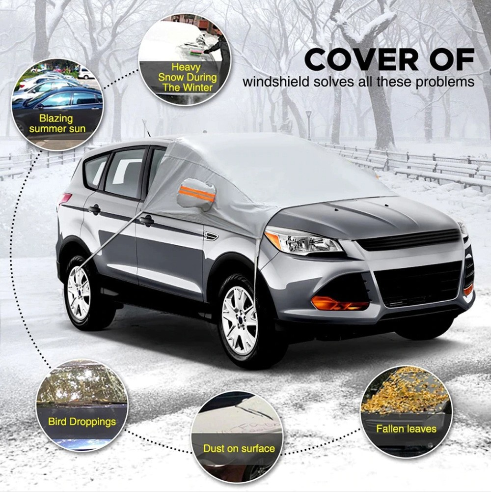 YLB8015 Car Front Shield Protective Cover - Silver