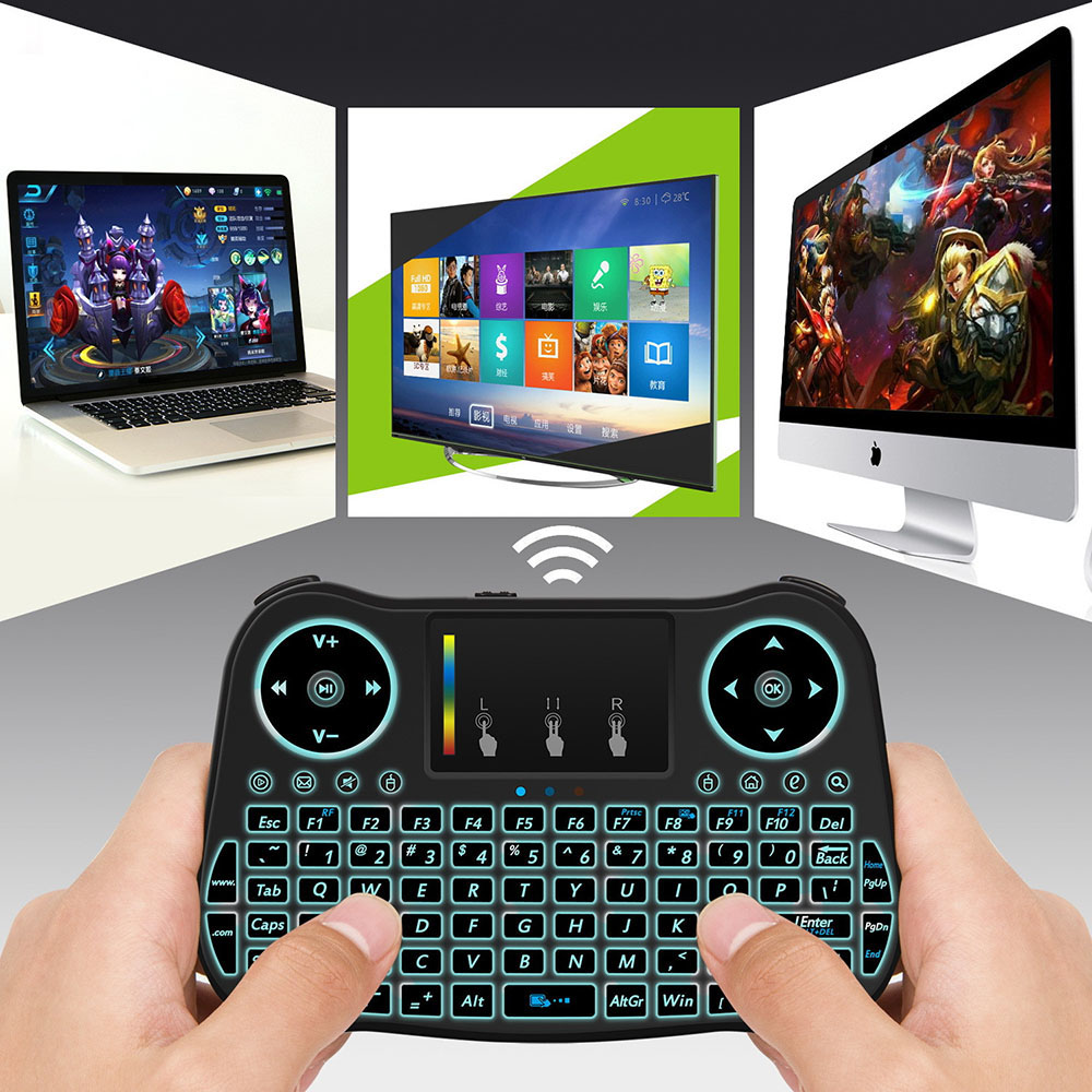 MT08 Seven-color Backlight Air Mouse 2.4G Wireless Touch Keyboard Remote Control Lithium Battery - Black