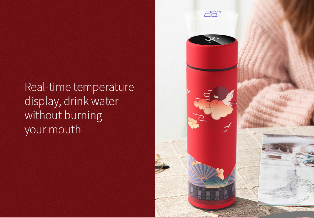 Creative Chinese Style Illustration Tide Roman Cup Real-time temperature display