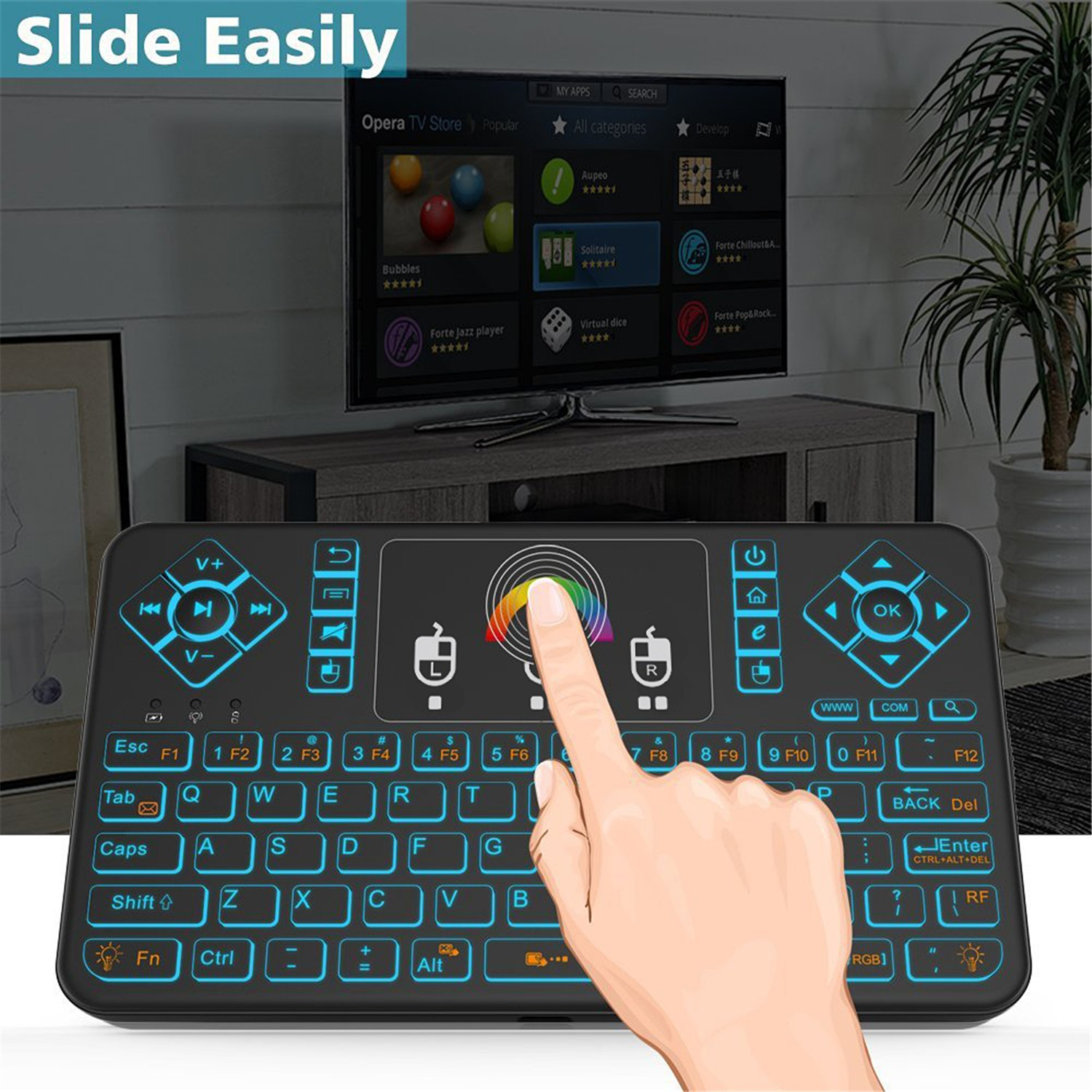 Q9 2.4G Air Mouse Mini Wireless Keyboard Remote Control  with USB Interface Receiver - Black