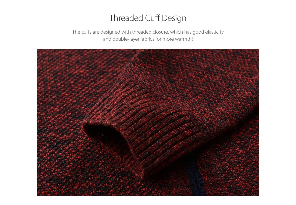 Autumn and Winter Large Size Men's Sweater - Blue 2XL Threaded Cuff Design
