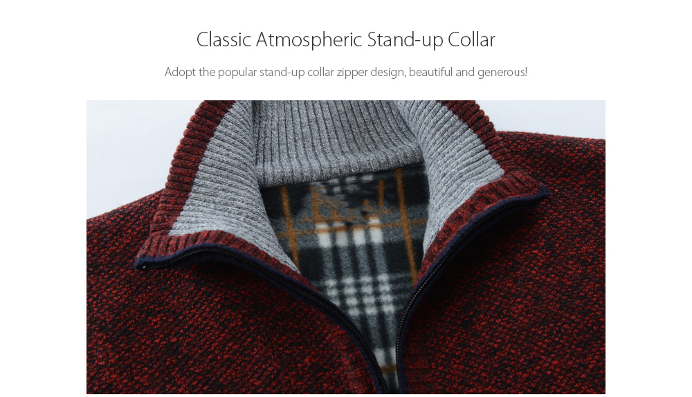 Autumn and Winter Large Size Men's Sweater - Blue 2XL Classic Atmospheric Stand-up Collar