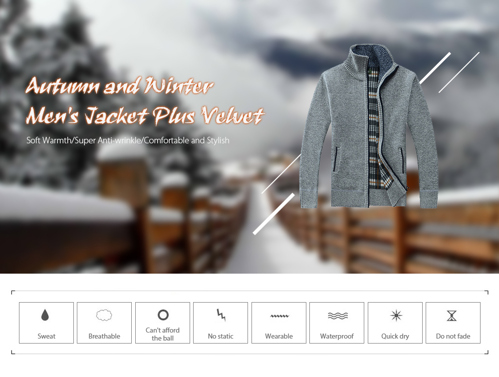 Autumn and Winter Large Size Men's Sweater - Blue 2XL Autumn and Winter Men's Jacket Plus Velvet