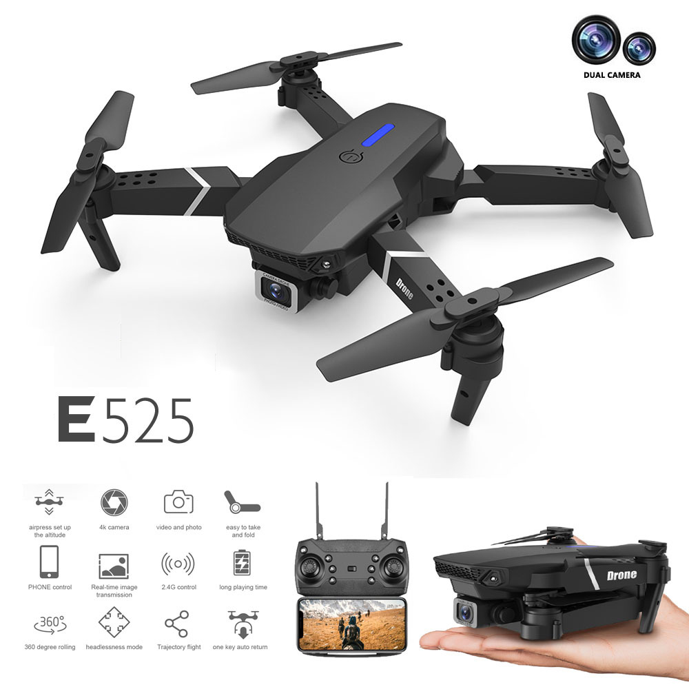 E525 RC Drone Quadcopter Aircraft Toy - Black 1080P
