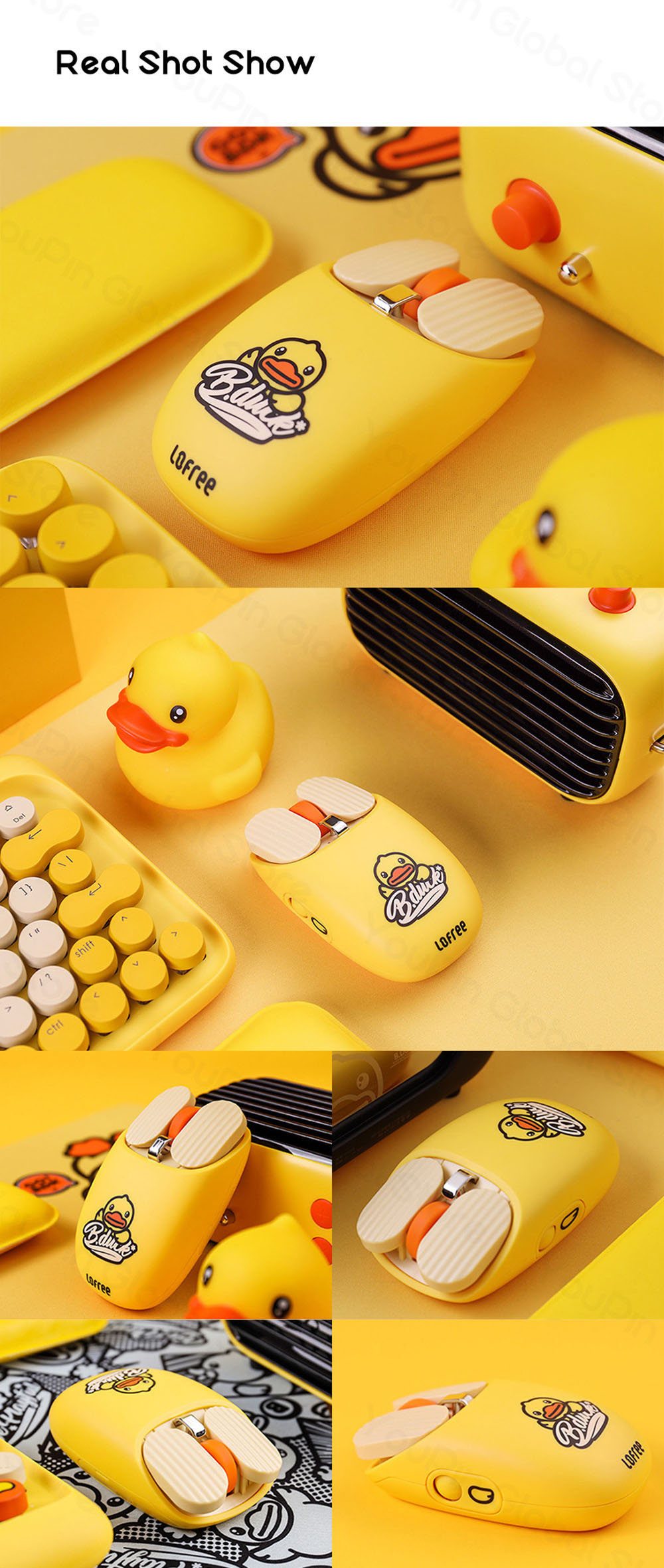 LOFREE Mouse B. Duck Bluetooth Wireless Mouse Dual Mode Connection Multi System Gesture Control Mac Windows Portable from Youpin - Yellow