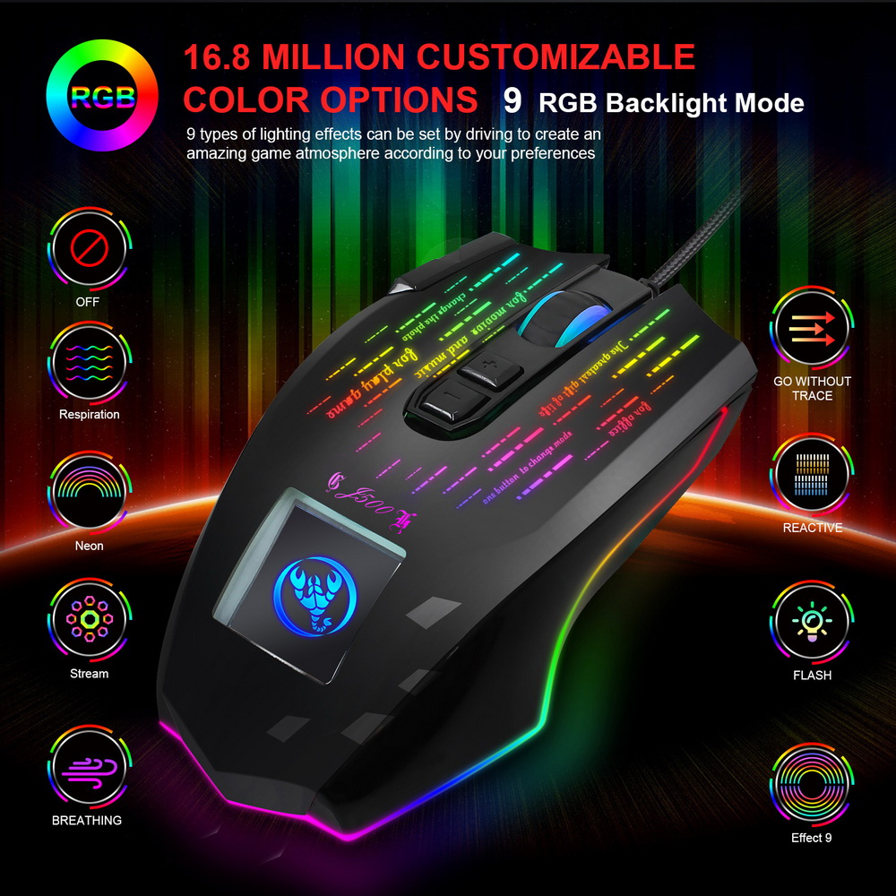 HXSJ J500 Display Wired Macro Programming Gaming Mouse - Black