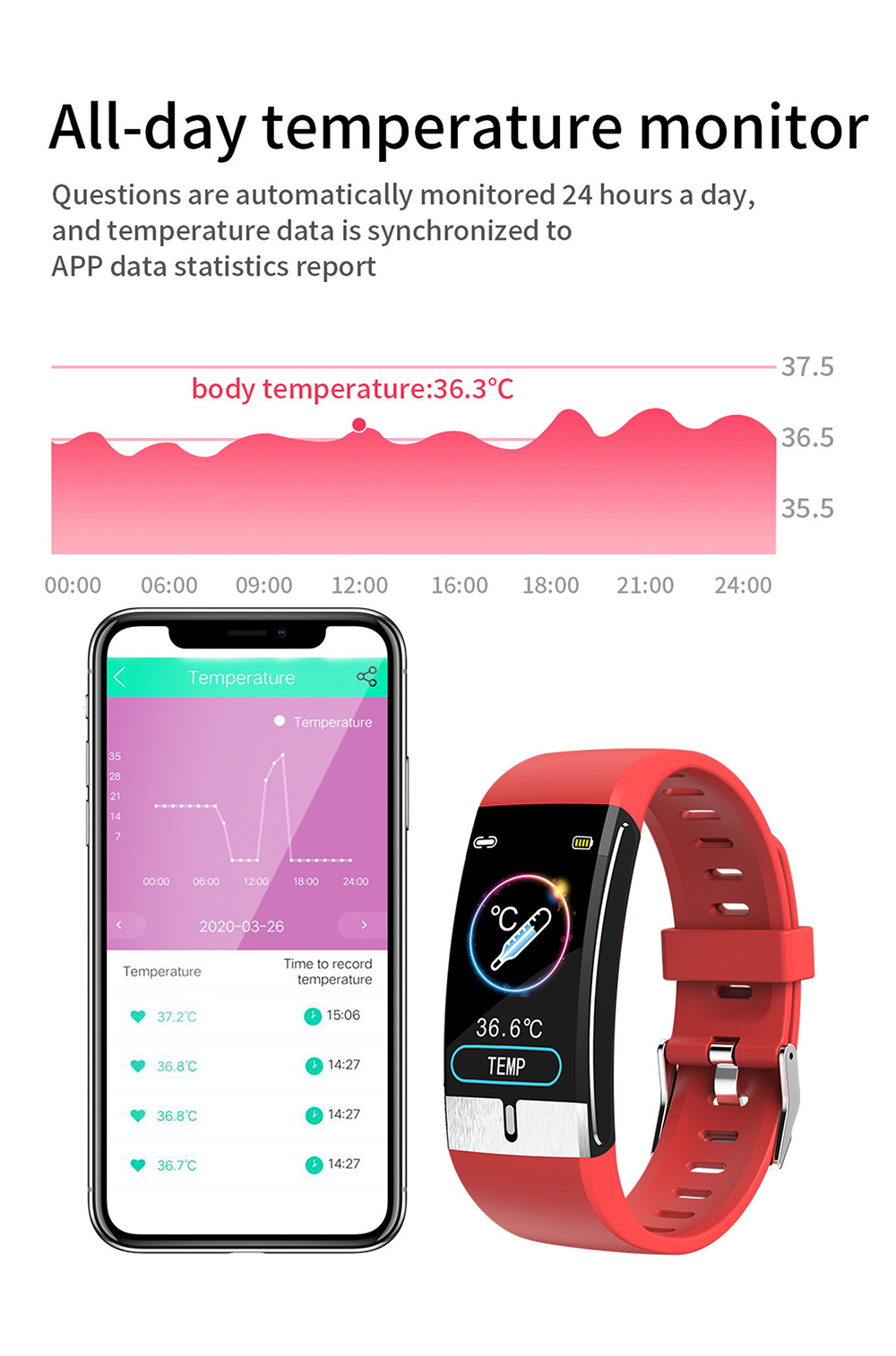 E66 Smart Wristband Body Temperature Bracelet Sports Body Temperature Heart Rate Blood Pressure Oxygen Monitor ECG PPG Smart Bracelet - Red