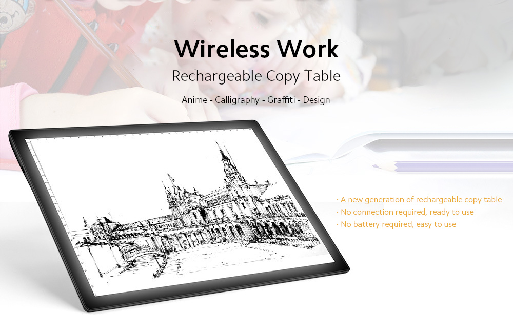 A4-D26 Graphics Tablet LED Penetrating Copy Station Built-in Lithium Battery - Black Rechargeable Copy Table