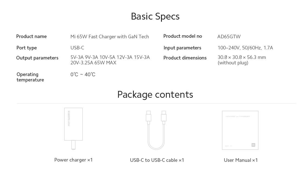 Xiaomi Gallium Nitride GaN Power Adapter Type-C 65W EU Plug Charger - White