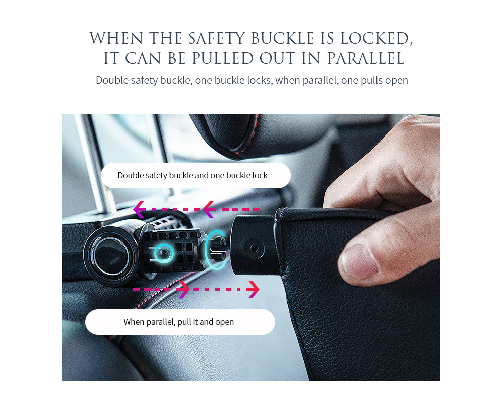 A03 Car Cushion Pillow When the safety buckle is locked, it can be pulled out in parallel