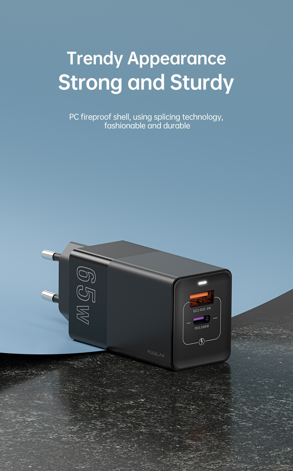 Kuulaa KL-CD14 65W Charger Trendy Appearance,  Strong and Sturdy