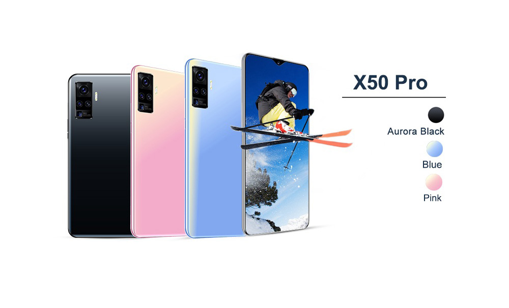 X50 Pro 3G Smartphone MTK6580P 6.7 inch 4GB RAM 64GB ROM Android 8.0 8MP + 18MP Cameras 4800mAh Battery - Sky Blue EU Plug