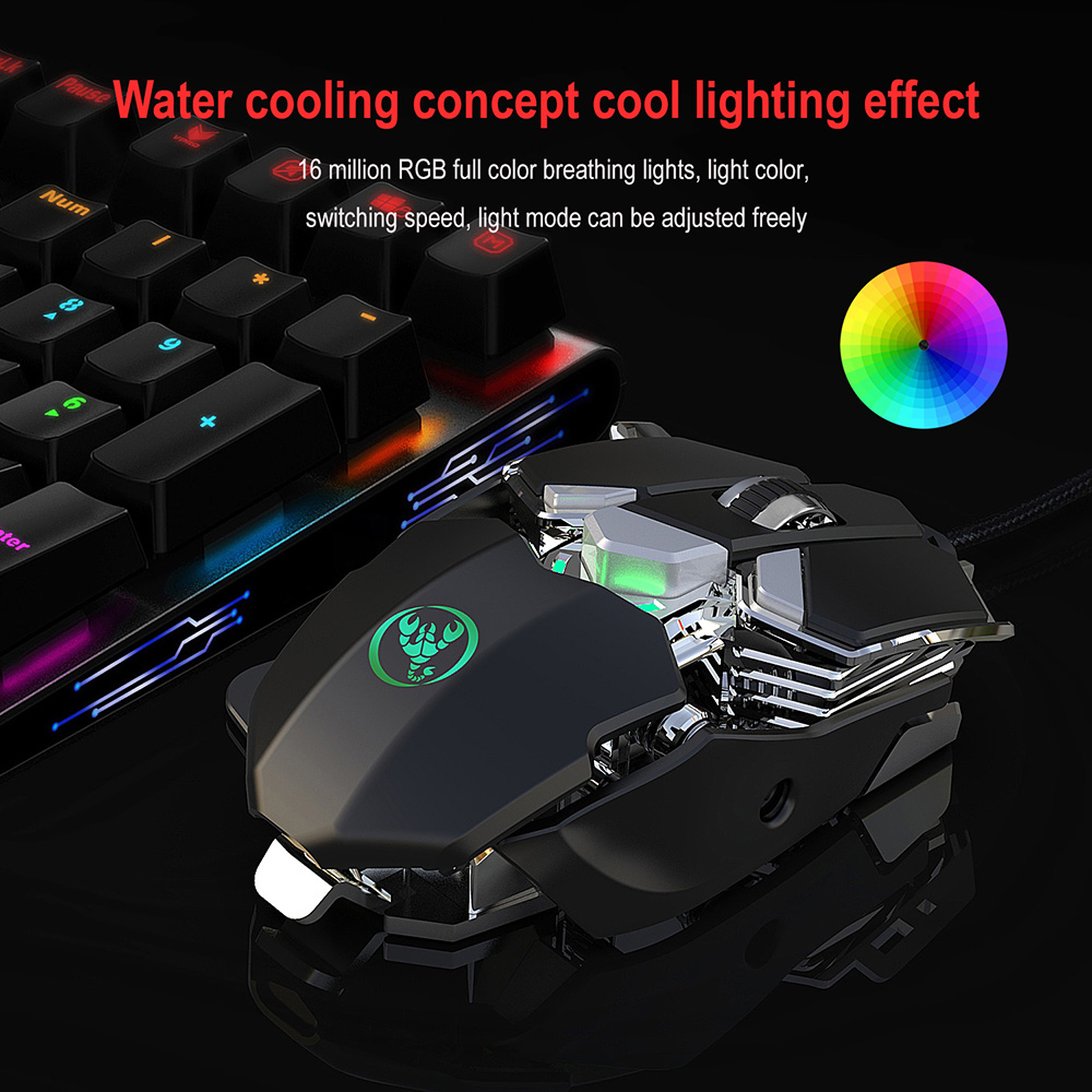HXSJ J600 Colorful Programmable Game Mouse 6-speed DPI 9-key Mechanical Wired Mouse Light Cool Auto Press Gun Artifact - Dark Gray