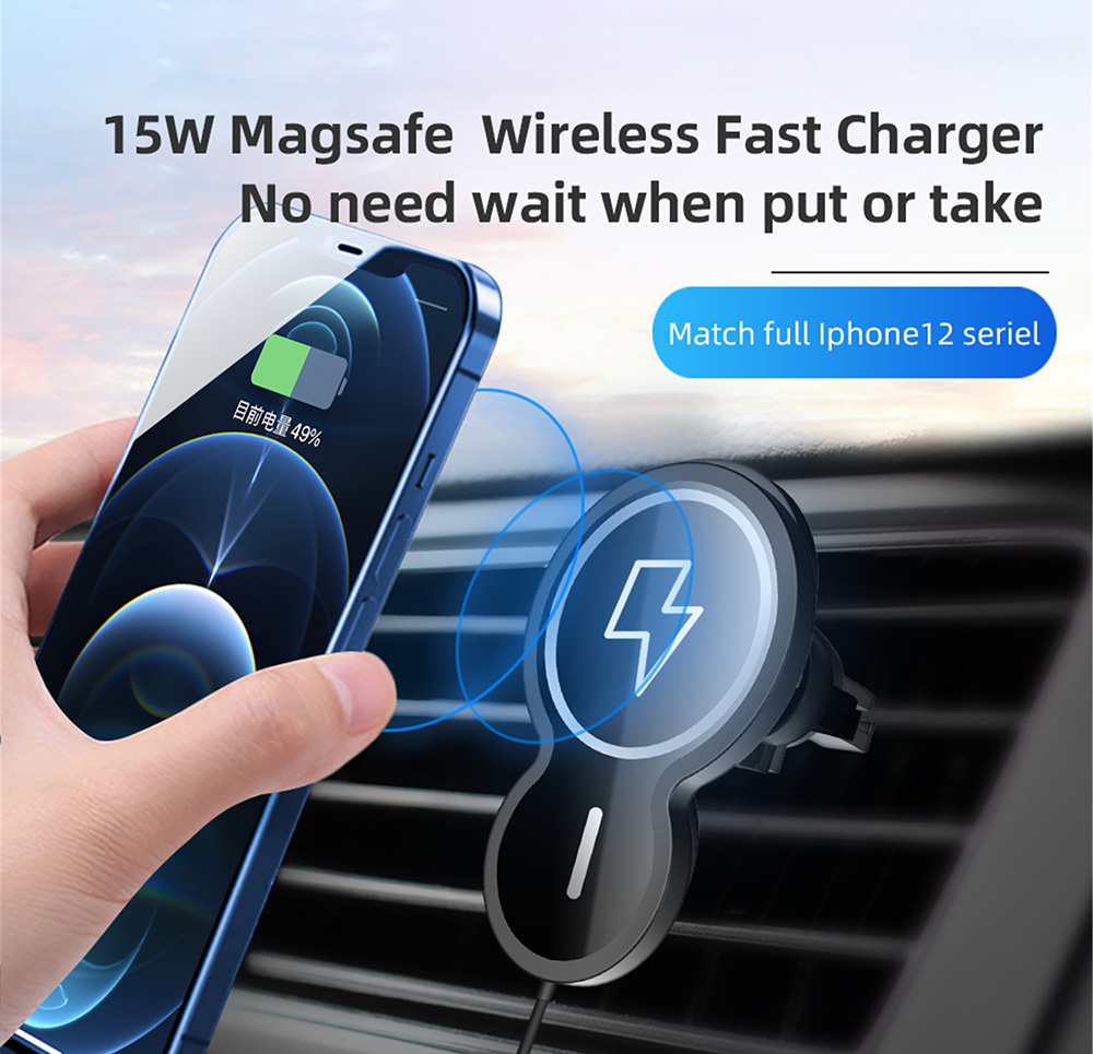 Car Charger Wireless Charging 15W Fast Charge PD Air Outlet Charger for iPhone 12 - Black
