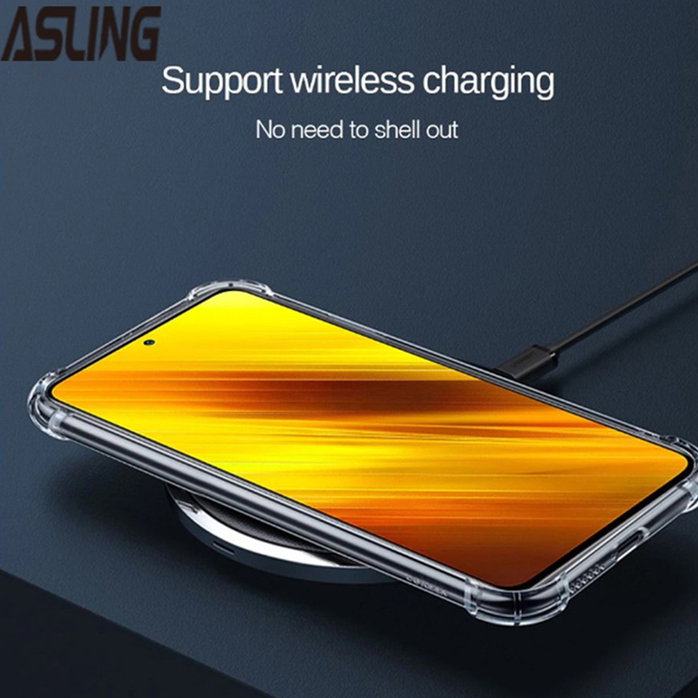 ASLING 3-in-1 Screen Protector + Camera Protection Film + Phone Case for Xiaomi Mi POCO X3 NFC Support wireless charging