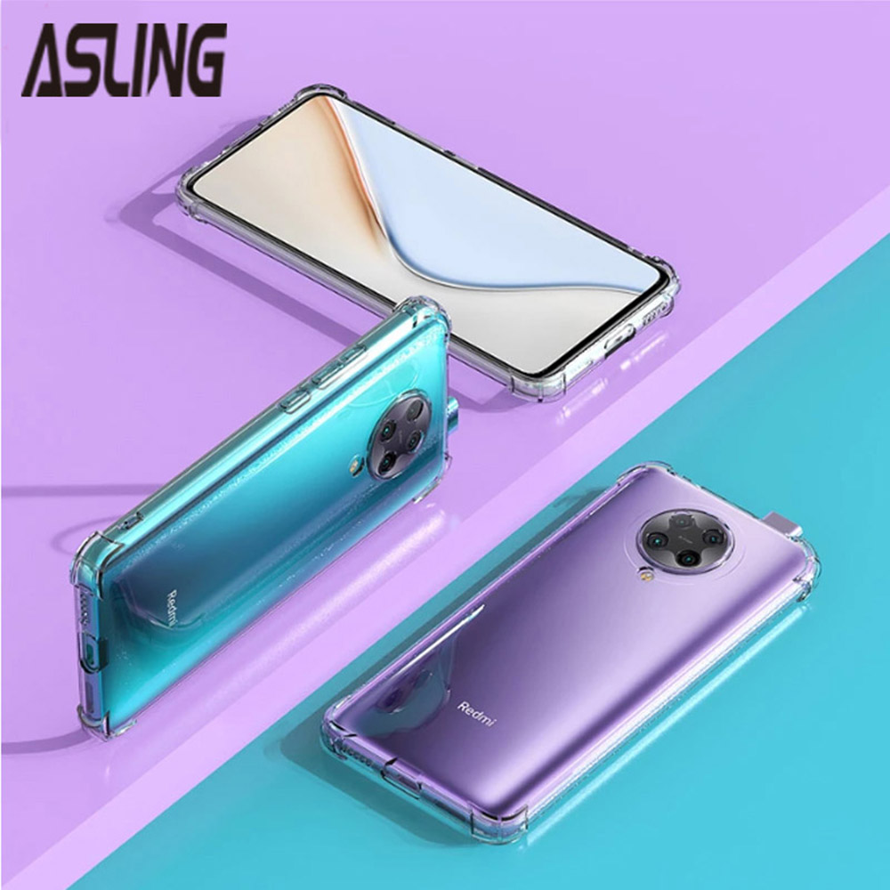 ASLING 3-in-1 Screen Protector + Camera Protection Film + Four-corner Anti-drop Phone Case for Xiaomi Mi POCO X3 NFC - Transparent