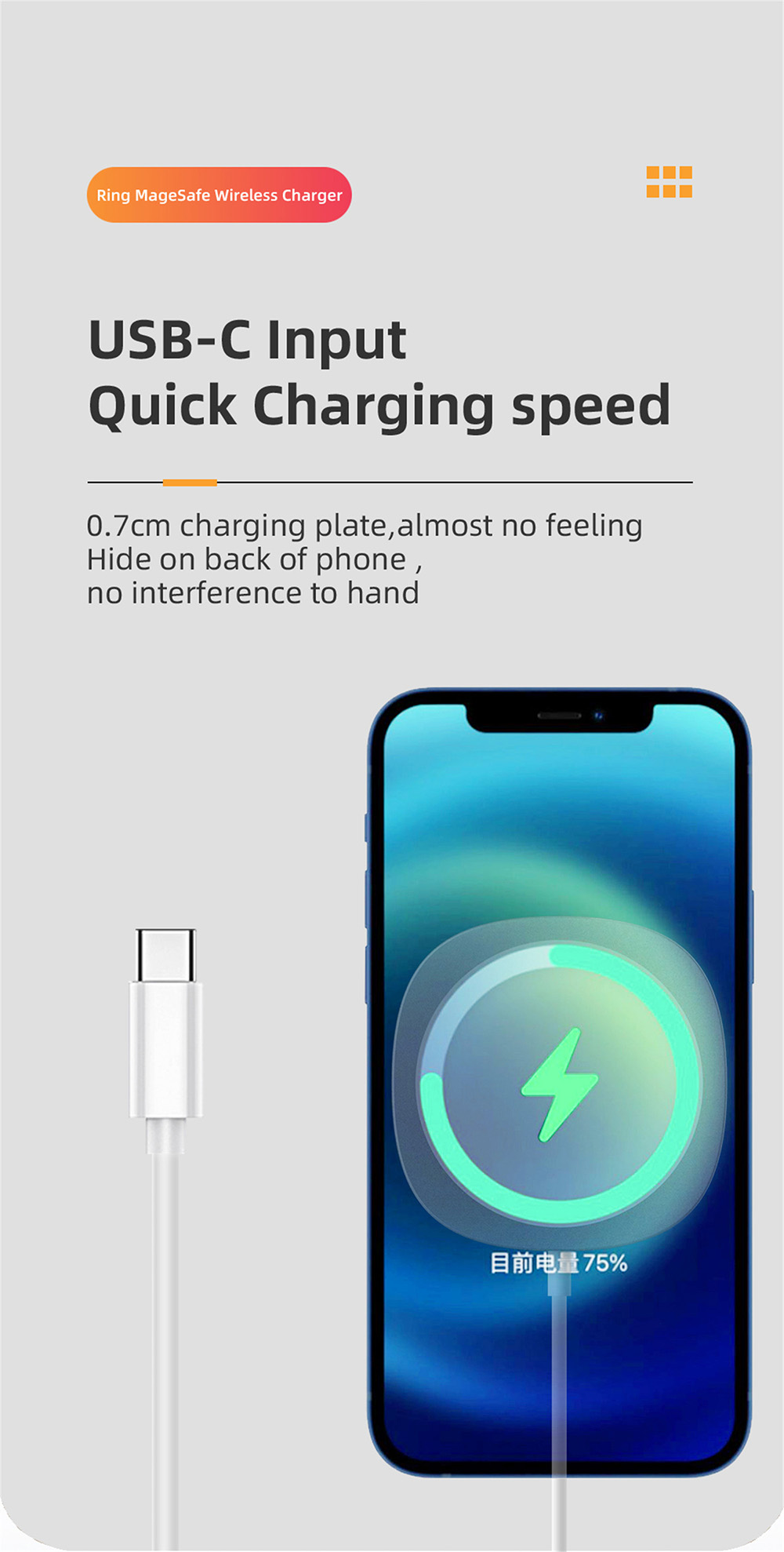 Charger Ring Magnetic Wireless Fast Charging 15W Magnetic Suction Wireless Charger Suitable for IPhone 12 - Silver