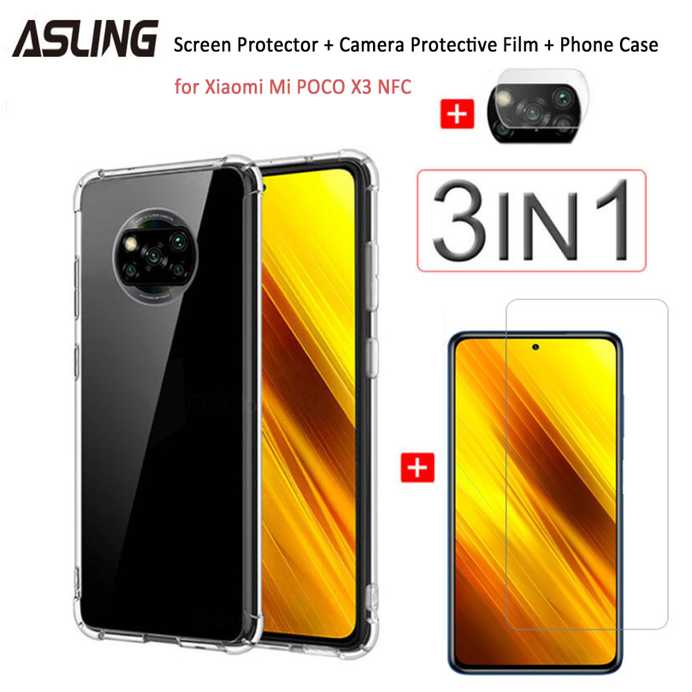 ASLING 3-in-1 Screen Protector + Camera Protection Film + Phone Case for Xiaomi Mi POCO X3 NFC