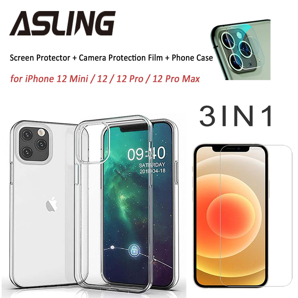 ASLING 3-in-1 Screen Protector + Camera Protection Film + Phone Cover