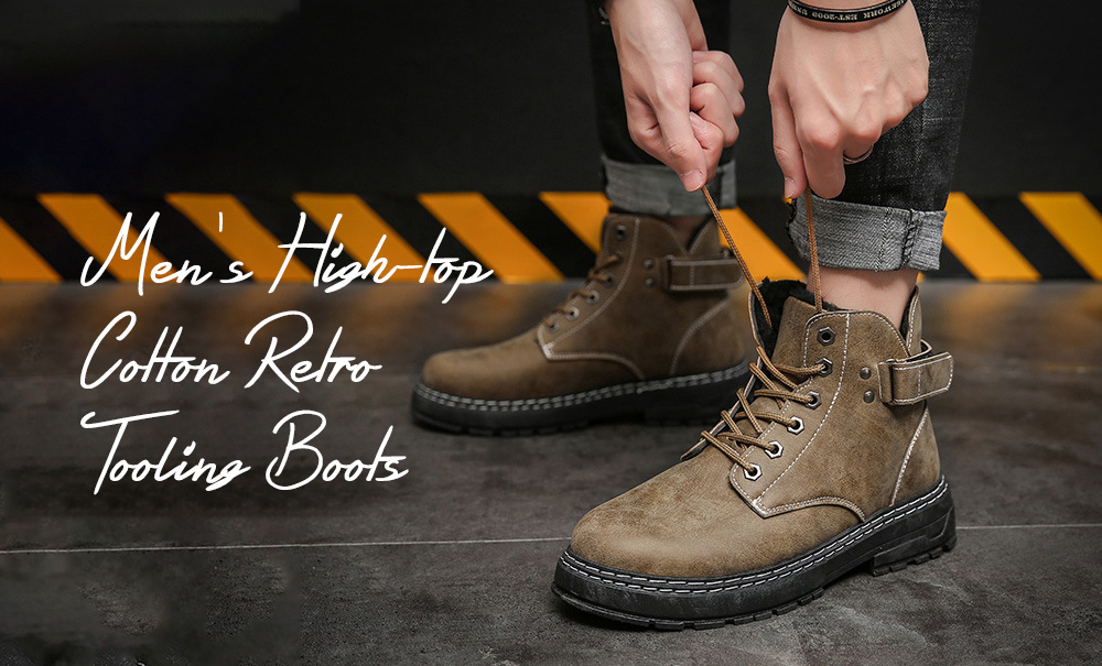 Men's High-top Cotton Retro Tooling Boots
