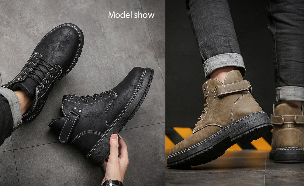 Men's High-top Cotton Retro Tooling Boots model show