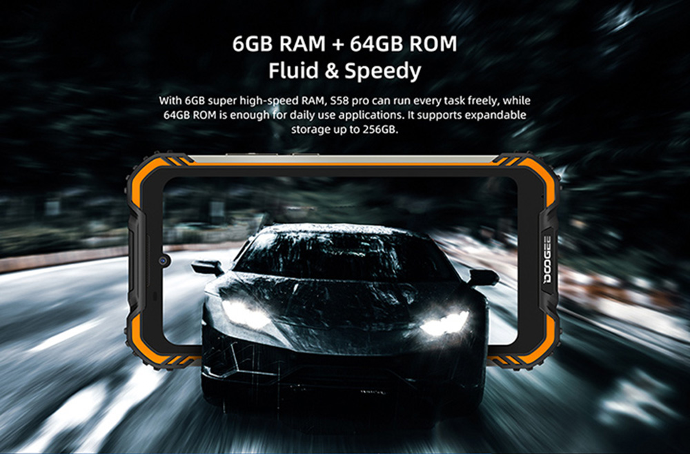 Doogee S58 Pro 4G Smartphone Global Version 5.71 inch IP68 / IP69K Waterproof NFC 5180mAh Android 10 16MP AI Triple Rear Camera 6GB 64GB Helio P22 - Orange EU Version
