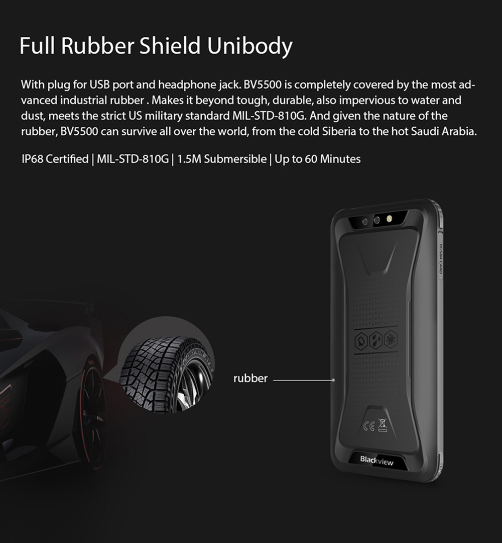 Blackview BV5500 IP68 Waterproof Shockproof Mobile Phone Android 8.1 Rugged 3G Smartphone 5.5 inch 2GB + 16GB Dual SIM Cell Phones Global Version - Black EU Version