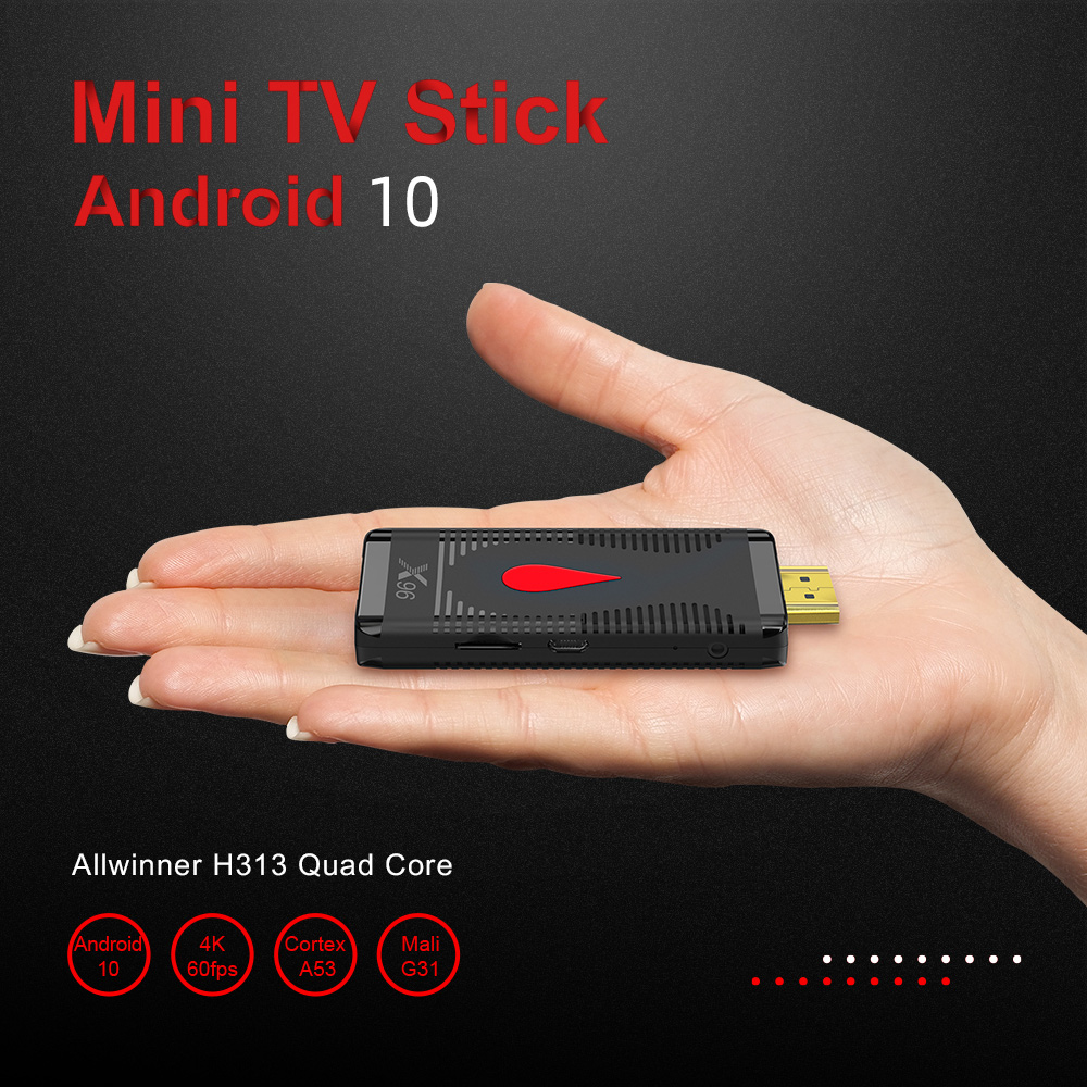 X96 S400 TV Stick Allwinner H313 Quad Core 4K Android 10.0 TV Dongle 1GB / 2G RAM 8GB / 16G ROM 2.4G WiFi Player - Black 1GB RAM + 8GB ROM US Plug