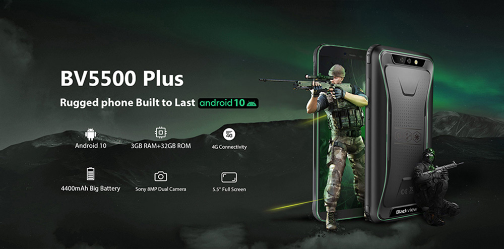 Blackview BV5500 Plus Smartphone Rugged Phone IP68 Waterproof 3GB 32GB Android 10.0 Cellphone 4400mAh 4G Mobile Phone International Version - Green Other Area Version