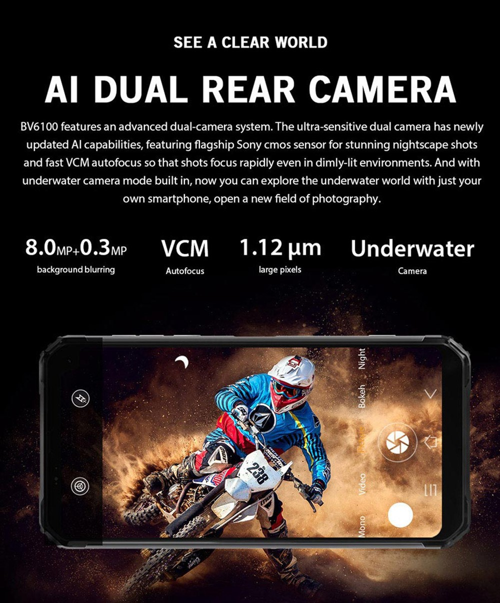 Blackview BV6100 Smartphone Android 9.0 IP68 Waterproof MTK6761 3GB 16GB 5580mAh NFC Mobile Phone 6.88inch Large Screen International Version - Black EU Version