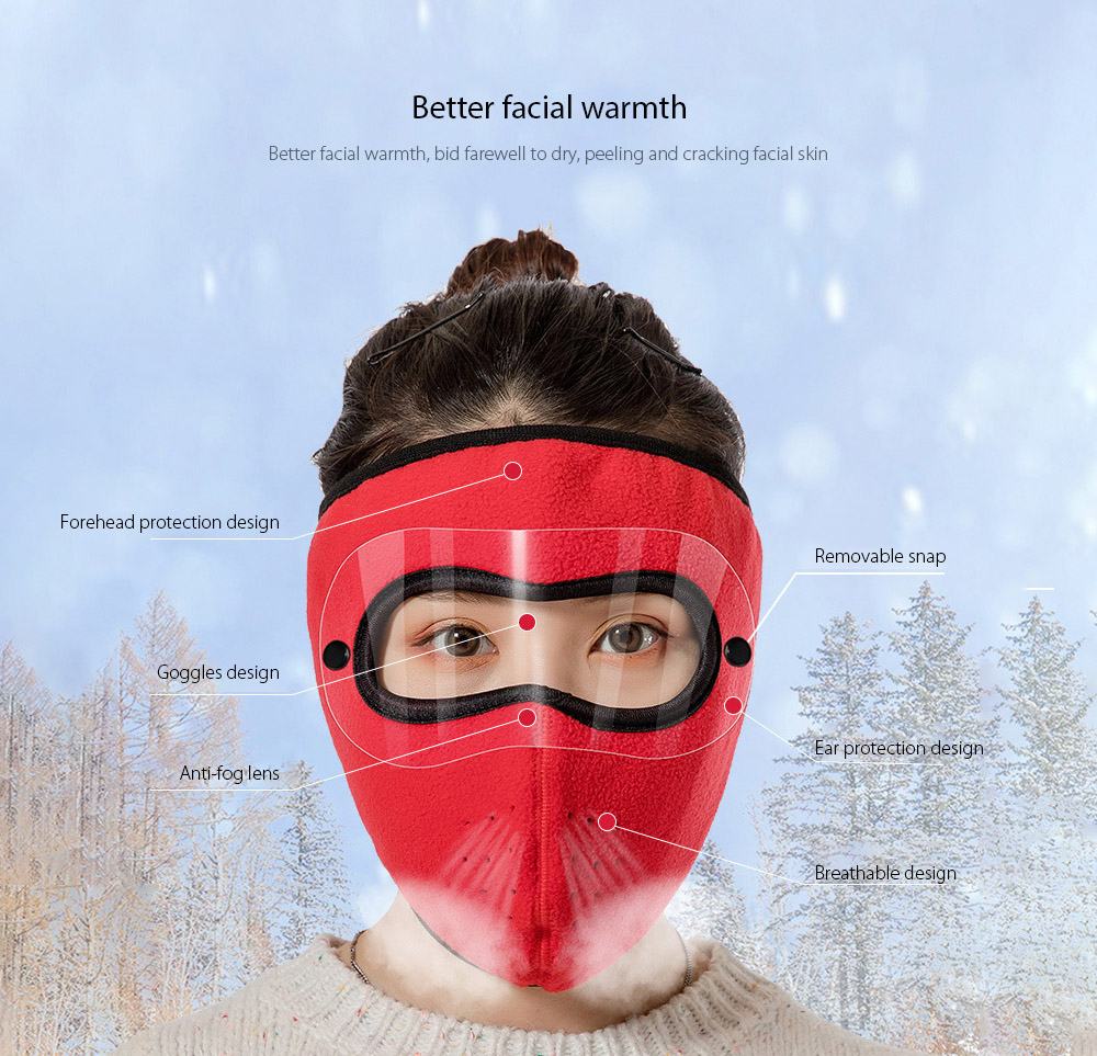 Autumn and Winter Warm Goggles Mask Men and Women Outdoor Riding Double Polar Fleece Cycling Mask - Woodland Camouflage