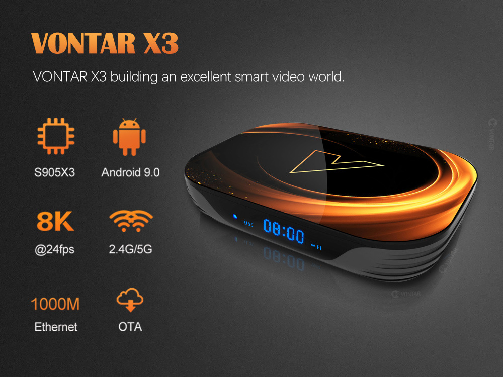 Vontar X3 Smart TV Box - Black 4+32GB EU Plug
