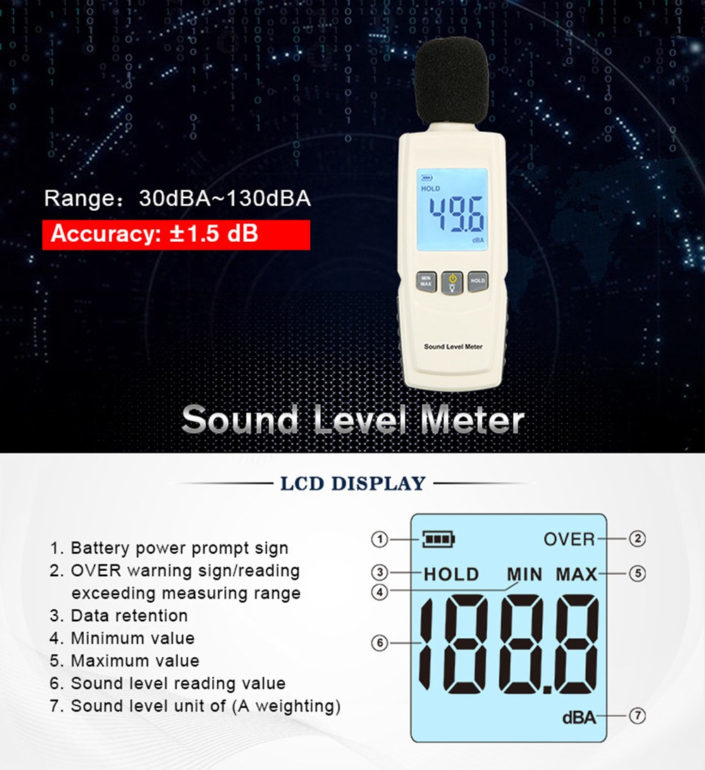 GM1352 Digital Noise Decibel Meter for Office and Home - White Sound Level Meter