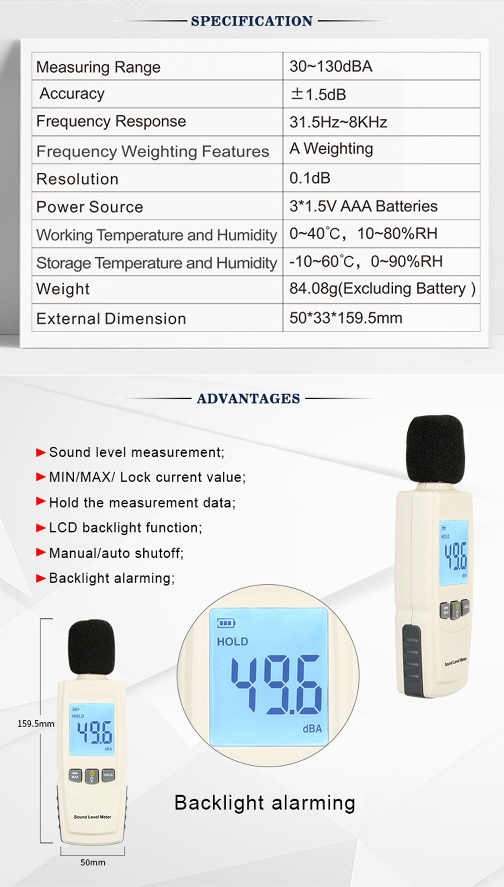 GM1352 Digital Noise Decibel Meter for Office and Home - White Specifications