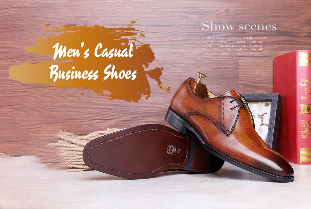 Men's Casual Business Dress Shoes - Dark brown 38 Men's Casual Business Shoes