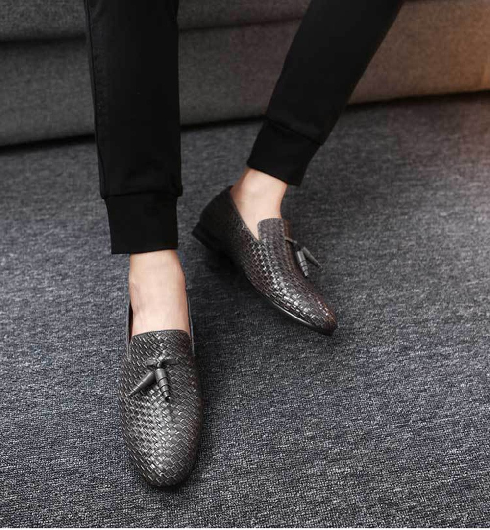 Spring and Autumn Large Size Men's Knitted Shoes British Men's Fringed Leather Shoes - Black 48