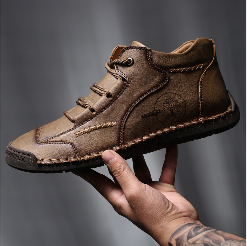 Autumn Men's Casual Shoes High-top Male Trendy Boots British Style - Khaki 48