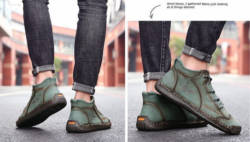 Autumn Men's Casual Shoes High-top Male Trendy Boots British Style - Yellow 41