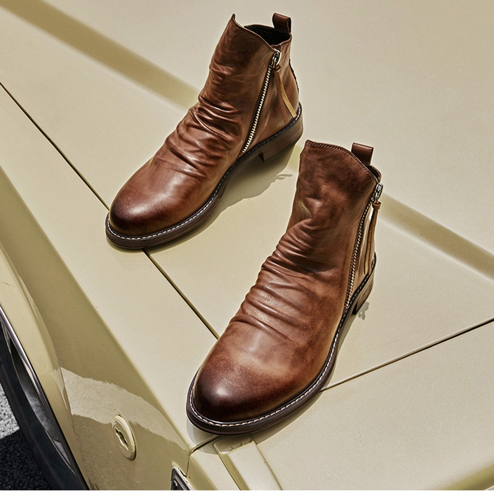 Pointed Toe Large Size Men's Boots Fashion Casual Tassel Boots - Brown 41