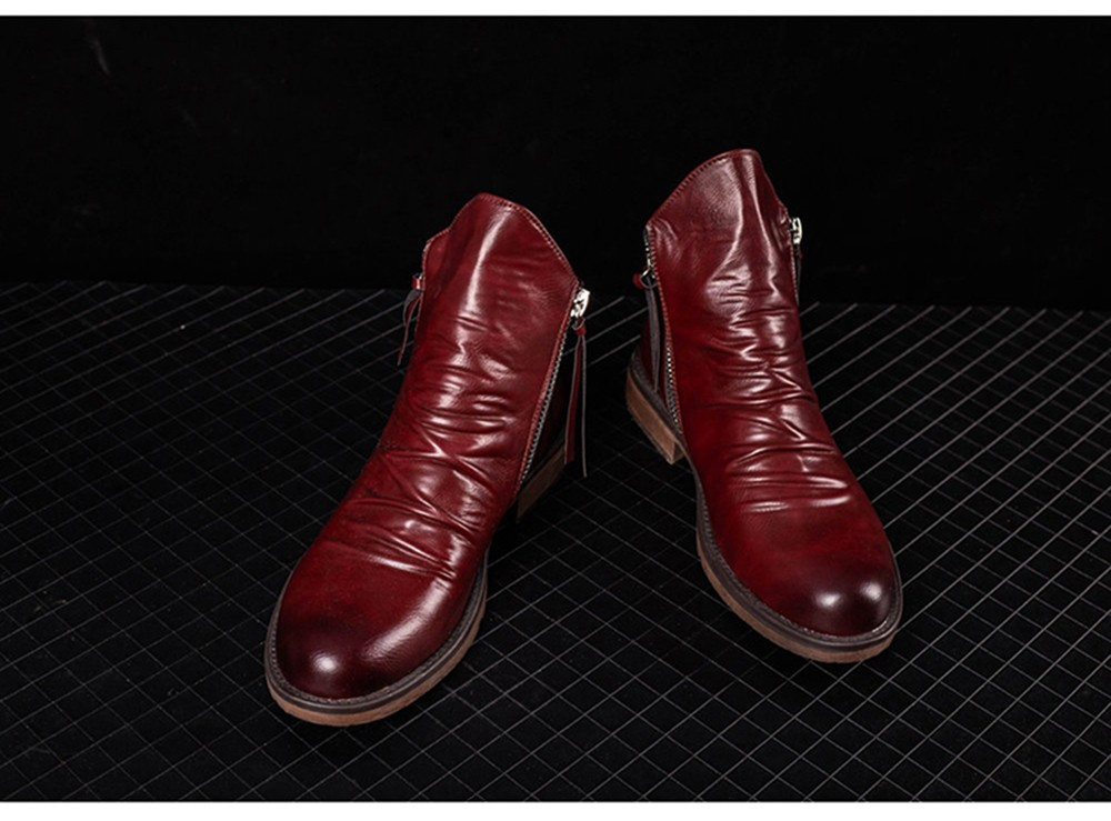 Pointed Toe Large Size Men's Boots Fashion Casual Tassel Boots - Wine Red 42