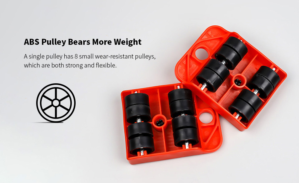 Tool Kit 150kg Multifunctional Handling Tool Heavy Object Moving Pulley Furniture Moving Tool - Dark Orange ABS Pulley Bears More Weight