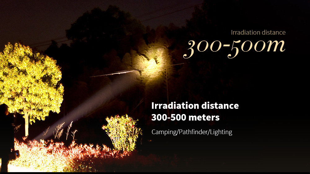 Flashlight Chargeable Super Bright Long Range Irradiation distance 300-500 meters