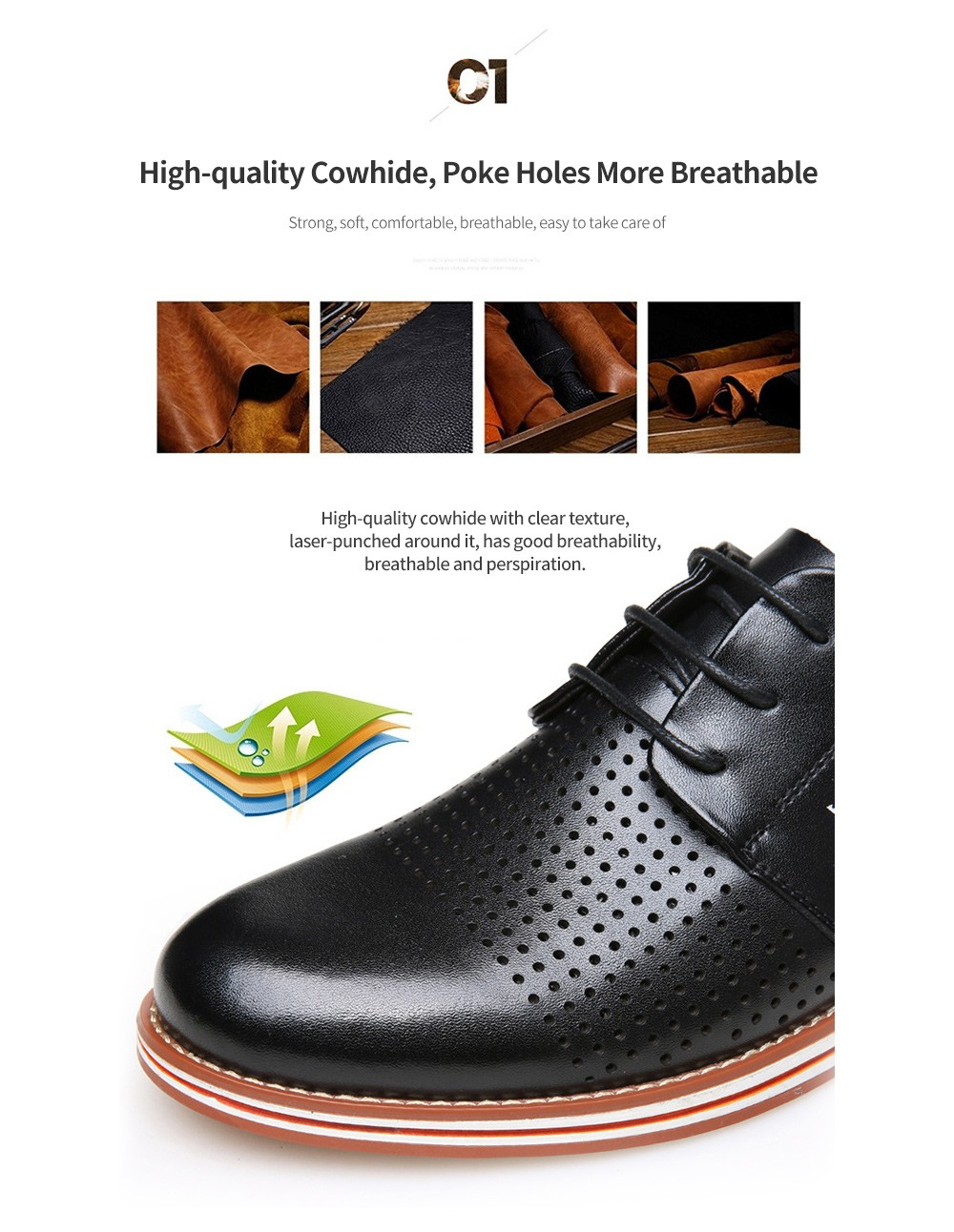 British Casual Men's Shoes - Tunnel Yellow Brown 40 High-quality Cowhide, Poke Holes More Breathable