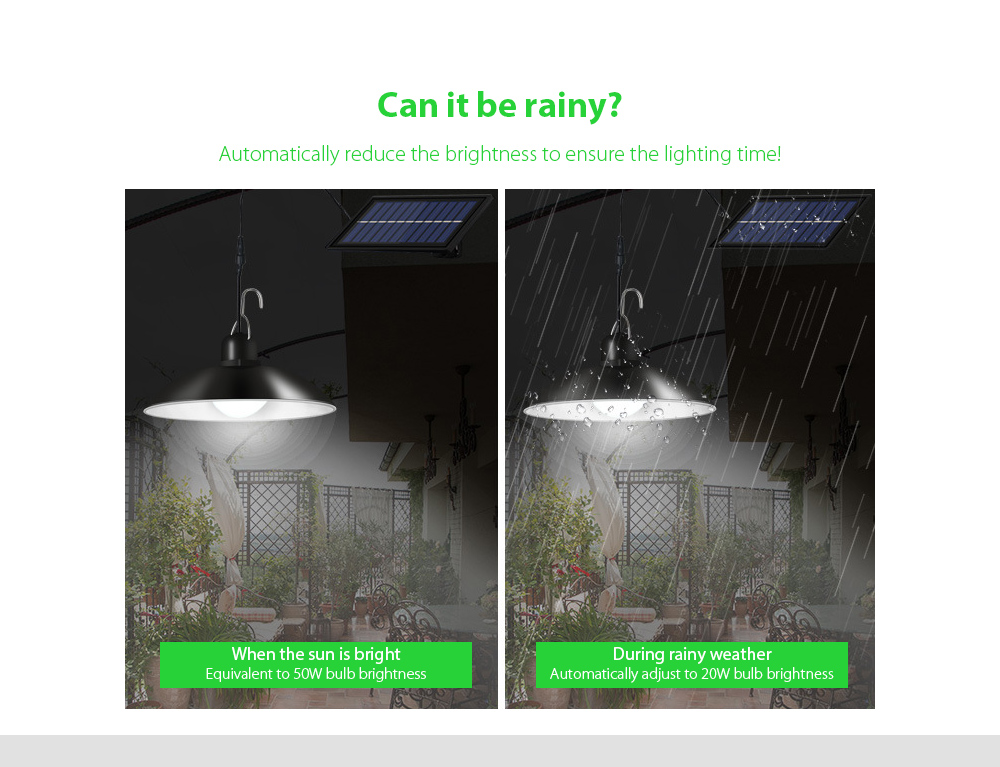 Garden Light Smart Solar Chandelier Can it be rainy?