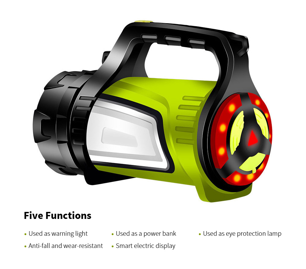 Flashlight Rechargeable Super Bright Long Shot LED Xenon Multi-function Home Outdoor Searchlight Portable Lamp - Black 7028 7028·Long Range·Emergency Power Bank