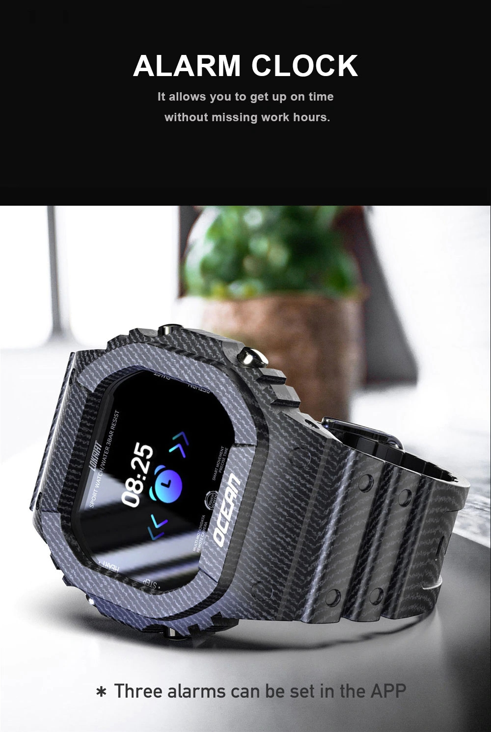 Smart Watch Men Fitness Tracker Blood Pressure Message Push Heart Rate Monitor Clock Smartwatch Women for Android - Woodland Camouflage