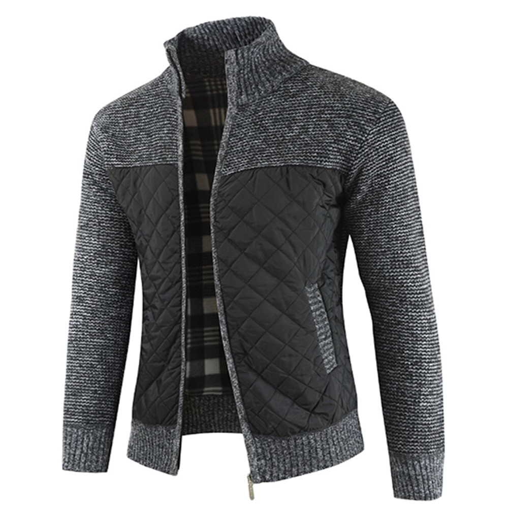 1808-DL180 Men's Fashion Color Combination Thicken Warm Long Sleeve Cardigan Sweater - Black 3XL