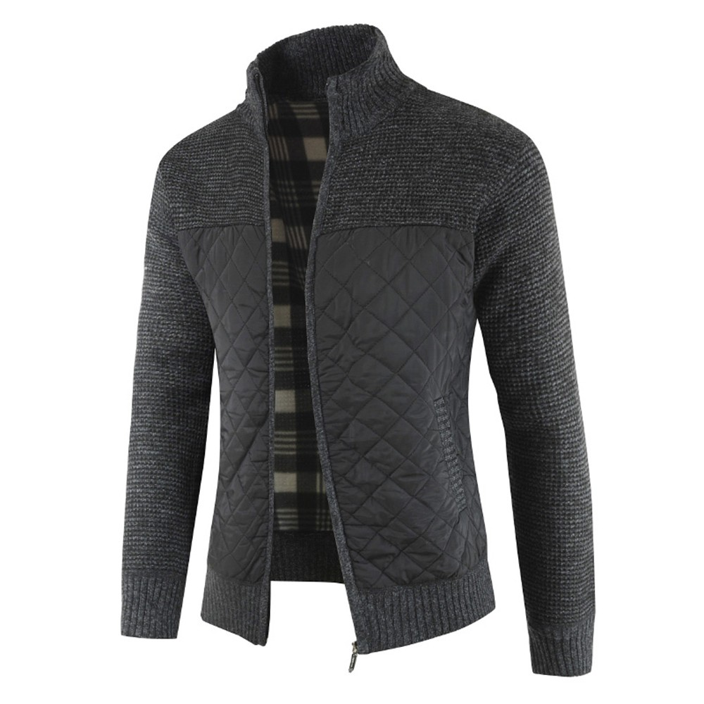 1808-DL180 Men's Fashion Color Combination Thicken Warm Long Sleeve Cardigan Sweater - Dark Gray M