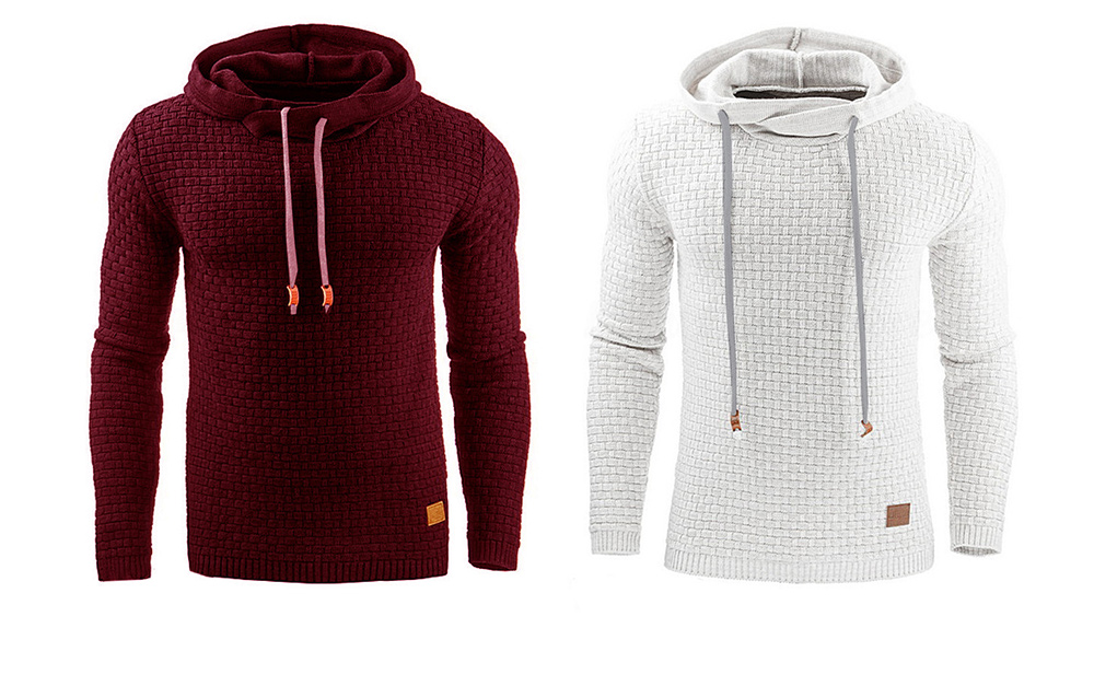 Winter Grid Long Sleeve Hooded Solid Color Sweater